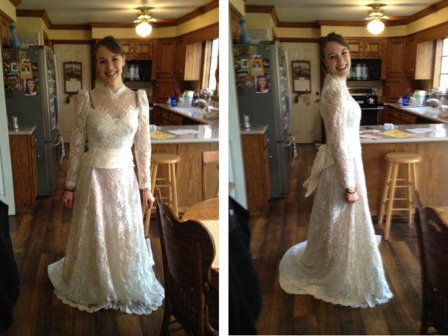 I tried on my mom's dress for fun. I think she rocked it way better.